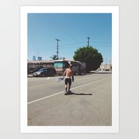 Skateboarder in Los Angeles Art Print