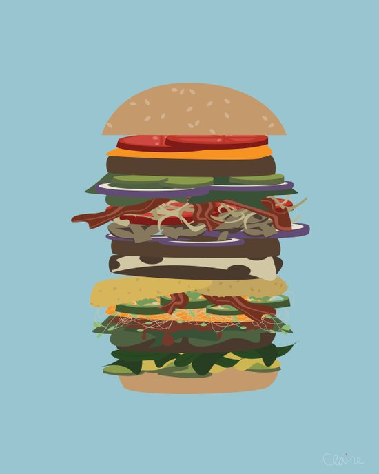 Burger Stack Art Print