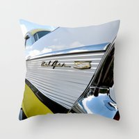 Yellow Classic American Muscle Car Belair  Throw Pillow