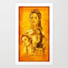Angelina Jolie - Série Ouro Art Print