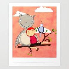 Friendly giant bat and girl digital illustration Art Print