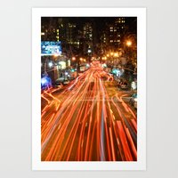City Traffic In The Night Art Print