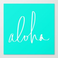Aloha Tropical Turquoise Canvas Print