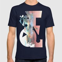 Clouds like Splattered Watercolor Mens Fitted Tee Navy SMALL