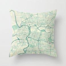 Sacramento Map Blue Vintage Throw Pillow