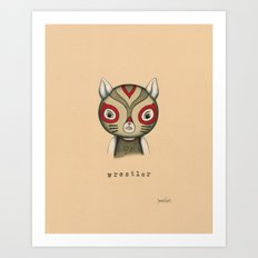 Cat Wrestler Art Print