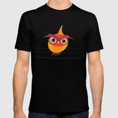 Owl On A Wire SMALL Black Mens Fitted Tee