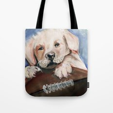 Puppy Touchdown Tote Bag