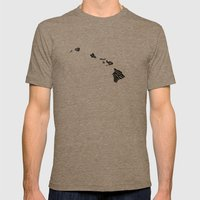 Typographic Hawaii Mens Fitted Tee Tri-Coffee SMALL
