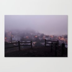 Foggy fences. Canvas Print