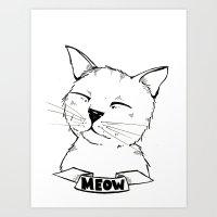 Meow Cat Art Print