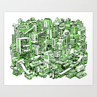 City Machine - Green Art Print