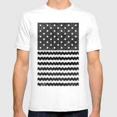 Black Zig Zag Flag SMALL Mens Fitted Tee White