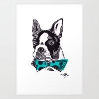 Bow Tie BostonTerrier - … Art Print