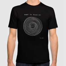 What to focus on - Happy (on black) SMALL Mens Fitted Tee Black