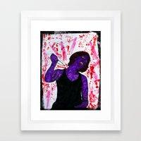 Waking from an encouraging dream, she slays the dream itself Framed Art Print