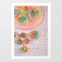 Rainbow Cupcakes Art Print