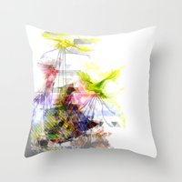 Flying Home (Glitch Remi… Throw Pillow