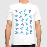 ORIGAMI BIRDS Mens Fitted Tee White SMALL