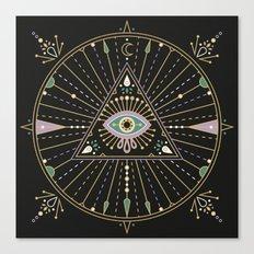 Evil Eye Mandala – Bla… Canvas Print