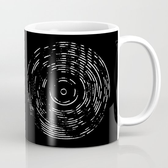 Record White on Black Mug