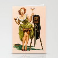 Vintage Camera Pinup girl  Stationery Cards