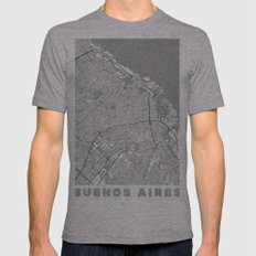 Buenos Aires Map Line Mens Fitted Tee Athletic Grey SMALL