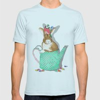 bunny in the teapot Mens Fitted Tee Light Blue SMALL