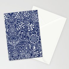 Detailed Floral Pattern in White on Navy Stationery Cards