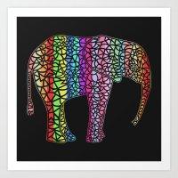 Coloured Elephant Art Print