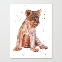 LION Cub Painting, Lions… Canvas Print