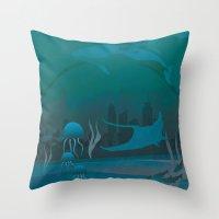 THE DOME - Fantasy | Animals | underwater | Ocean | Sci-fi | Whales | Ocean  Throw Pillow