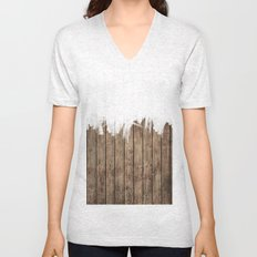 White Abstract Paint on Brown Rustic Striped Wood Unisex V-Neck