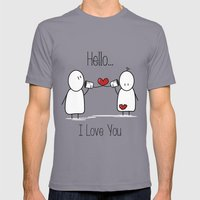 Hello I Love You Mens Fitted Tee Slate SMALL