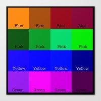 Blue, Pink, Yellow, Gree… Canvas Print