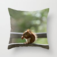 Red Squirrel Snack Time Throw Pillow