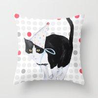 HAPPY BIRTHDAY CAT Throw Pillow