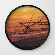 Sundown At The Sea Wall Clock
