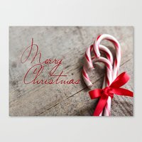 Merry Christmas Candy Canes Canvas Print
