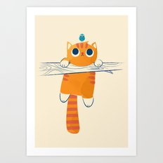 Fat cat, little bird Art Print