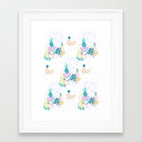 Fruiti tutti. Fruit, illustration, pattern, print, pineapple,  Framed Art Print