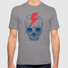 Skull Bolt Mens Fitted Tee Tri-Grey SMALL