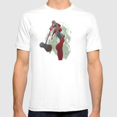 PONDERING White Mens Fitted Tee SMALL