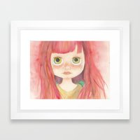 Blythe Doll Watercolor Framed Art Print