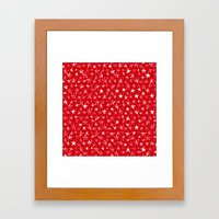 White stars abstract on bold red background illustration Framed Art Print