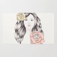 Whimsical Face with Pastel Roses Rug