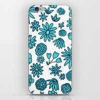 Blue Flowers on White iPhone & iPod Skin