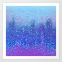 snowing on moon Art Print
