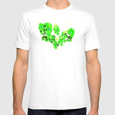 Green Heart White SMALL Mens Fitted Tee