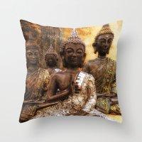 The 4 Buddhas Throw Pillow